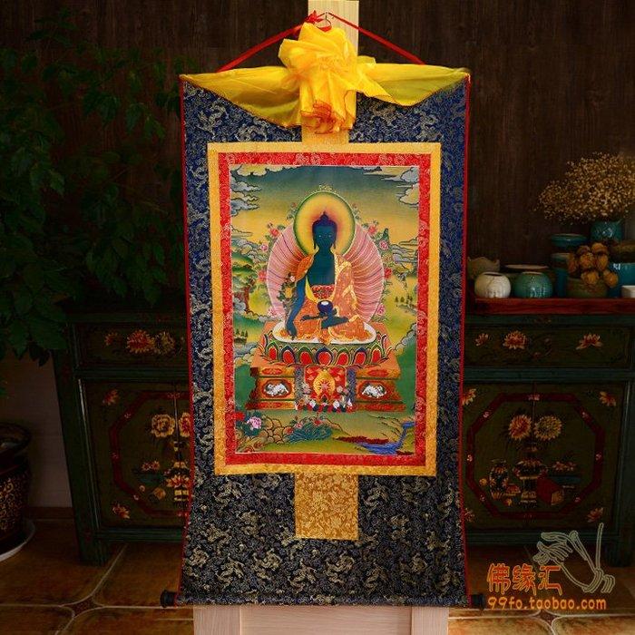 旦旦妙 西藏鍍金燙金唐卡 藥師佛唐卡佛像 藏式裝裱35*20cm 佛緣37