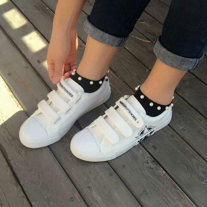粉紅玫瑰精品屋~韓國純棉高檔珍珠短襪 ~