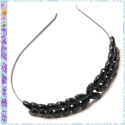 ☆POLLY媽☆歐美進口側排黑色馬眼鑽葉片桂冠造型黑銅細版髮箍