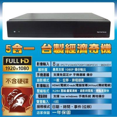 台灣製 台中可自取 8路數位監視主機 支援最高1080P 攝影機 手機連線 AHD/CVI/TVI/IPCAM/異地備份