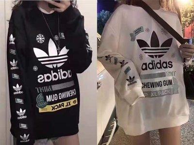 獨家上新Adidas花臂加絨連帽衛衣 花臂印花 強烈推薦!百搭壹百分💯的顏色 經典色黑白系