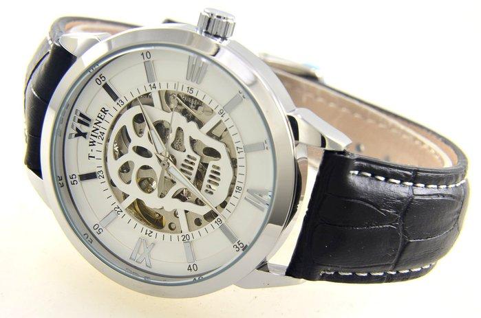 (六四三精品)T-WINNER超大錶徑:4.5公分.雙面鏤空,骷鏤頭面盤.自動上鍊機械錶!銀殼