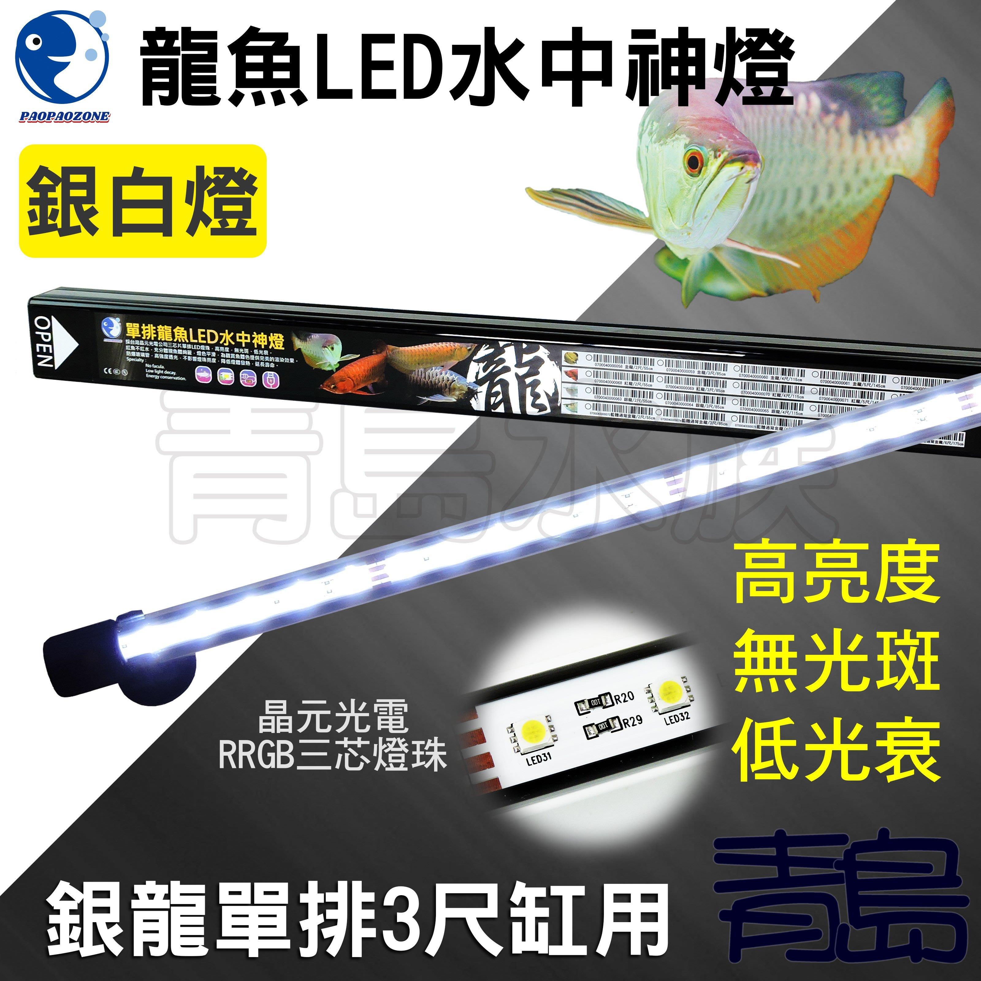 Y。。。青島水族。。。F-340-S85台灣paopaozone泡泡龍-龍魚LED水中燈 亮白 全白燈==單排/銀龍3尺
