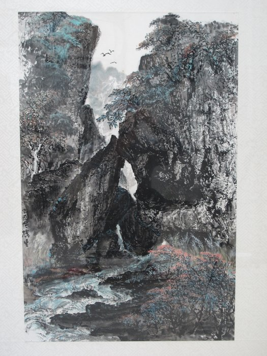 中國畫家【湯勝生】廣東十景 水墨畫