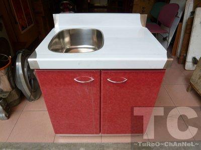 流理台【72公分洗台-左小水槽】台面&櫃體不鏽鋼 彩紅色門板 最新款流理臺 台北市