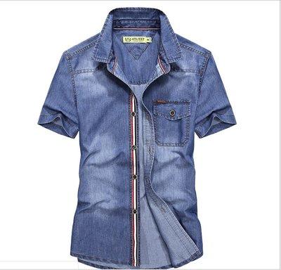 時尚服飾 夏季新款男士牛仔短袖襯衫休閑純棉男襯衣半袖寸衫1759