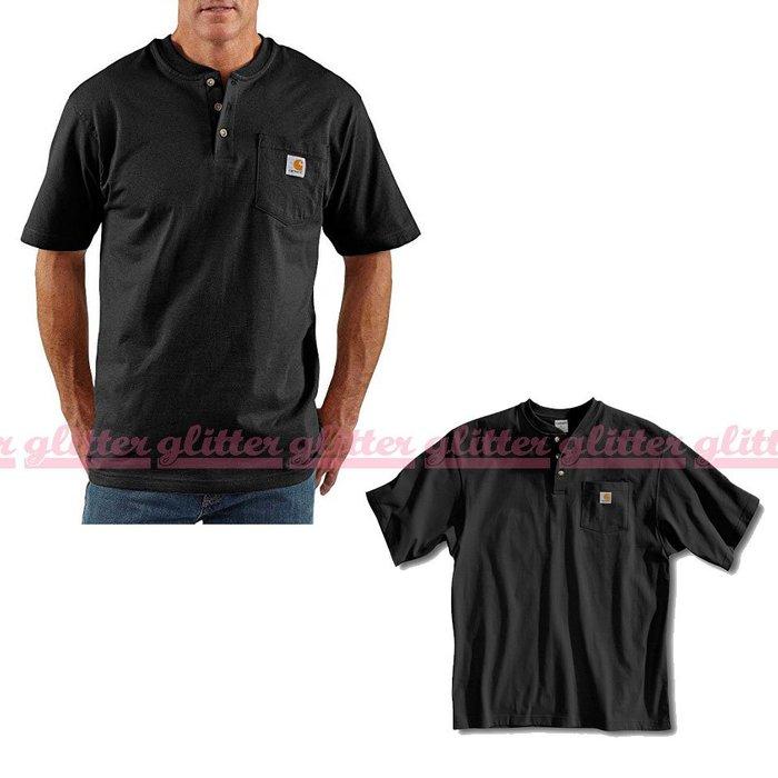 glitter。美國進口 保證真品 Carhartt K84 亨利領 扣子 口袋 T恤 短T 磅數高 材質厚 黑色