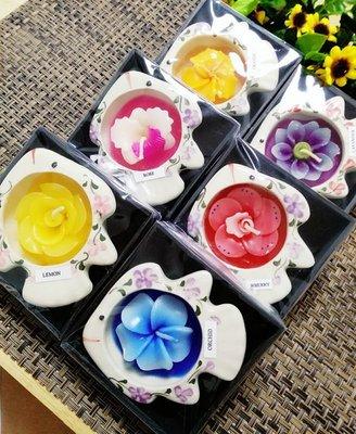 「還願佛牌」泰國進口 泰國 木盒 裝 迷你 陶瓷 香薰 蠟燭 魚形 蠟燭(味道隨機發貨)