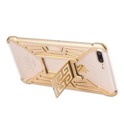 i Phone 6s-7-8 Plus金色Blazing angels☆防摔鋁合金屬邊框背蓋手機殼保護殼+