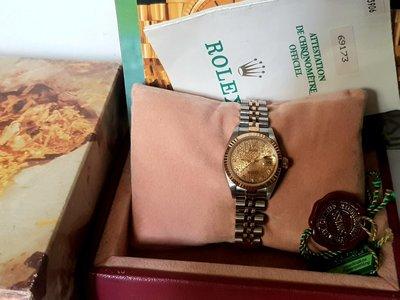 鴻圖當舖 Rolex 勞力士 69173 18黃K半金紀念面女庄鑽錶