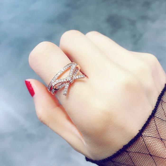 粉紅玫瑰精品屋~韓版流行蝴蝶結水鑽戒指~