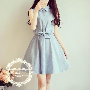 韓版時尚格子印花 無袖鬆緊腰連衣裙(藍色) J-12530