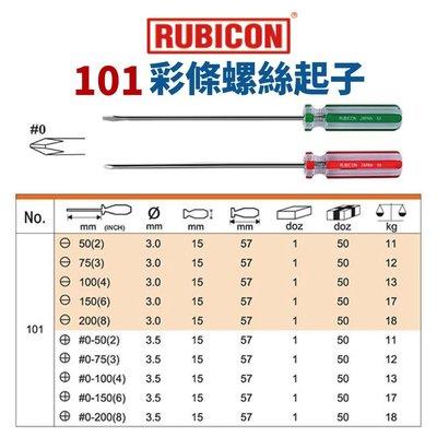 【Suey電子商城】日本RUBICON 101 一字 十字 彩條起子 請詢問規格報價給您