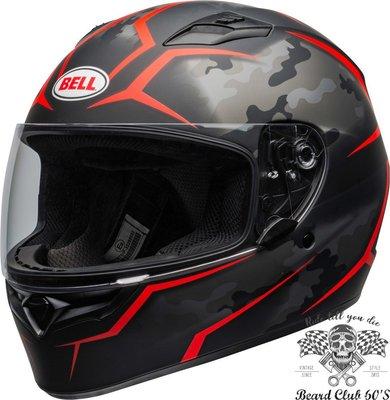 ♛大鬍子俱樂部♛ Bell® Qualifier Stealth Camo 美國 原裝 消光 迷彩 黑/紅 全罩 安全帽