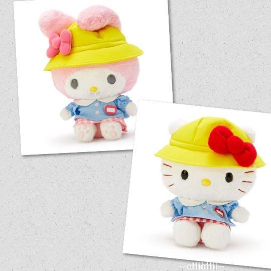 美樂蒂 kitty 絨毛玩偶 娃娃 玩具 布偶 (S 黃藍 復古學園系列)