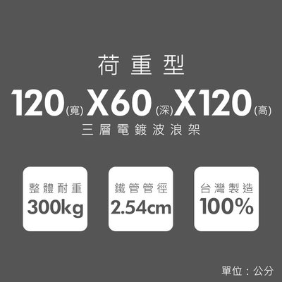 鐵架【荷重型 120x60x120cm 電鍍三層架】整體耐重300kg【架式館】波浪架/鐵力士架/層架/組合架/鐵架衣櫥