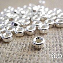 ☆ 惡魔小熊 手創 925銀飾批發 ☆ 990純銀 DIY材料 車輪珠 6.5mm  配件 單顆
