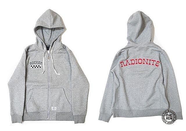 美國東村【RADIONITE】ROCKER ZIP HOODIE 重磅 連帽 外套 灰色 專屬賣場