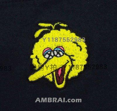 「AMBRAI.com」 UNIQLO x KAWS 芝麻街 深藍 大鳥 刺繡 Logo 素T Tee UT 短T T恤