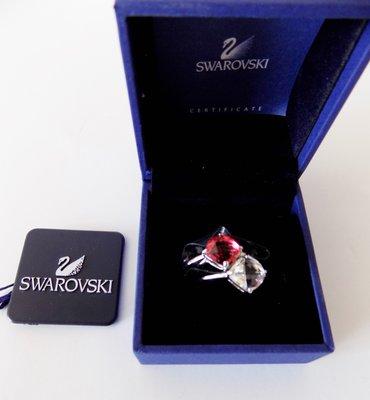 Swarovski施華洛世奇~寶石紅及白色水晶雙戒菱型水晶雙戒組合時尚水晶戒--#1035240