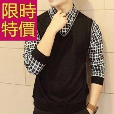 長袖毛衣歐美帥氣-頂級合身剪裁假兩件式男襯衫 2色59ac35[韓國進口][米蘭精品]