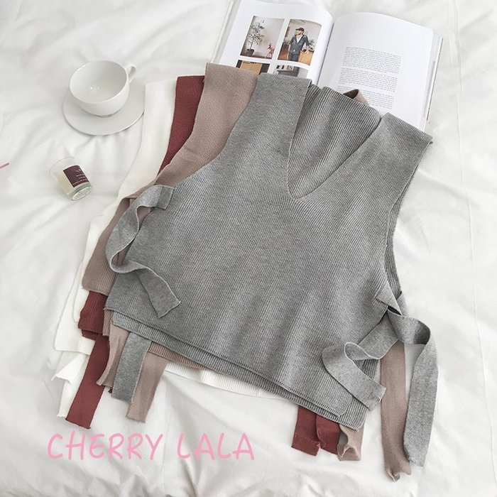 CHERRY LALA 韓國單實拍復古側面繫帶毛衣背心無袖針織上衣  MS08319   出清 賠售 灰色現貨