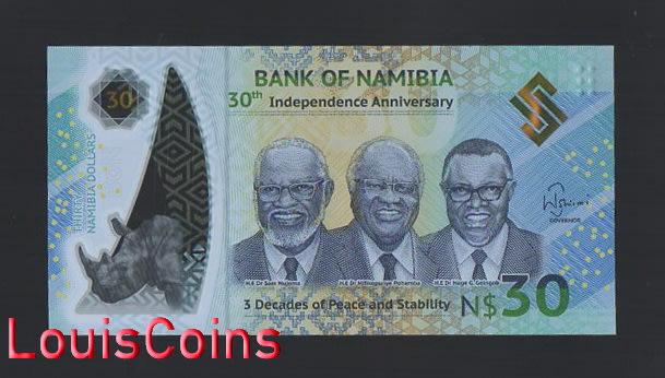 【Louis Coins】B691-NAMIBIA-2020納米比亞塑膠紀念紙幣,30 Namibia Dollars