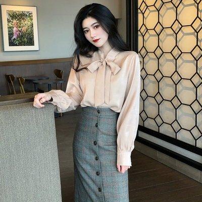 BZA 韓版氣質蝴蝶結系帶寬松顯瘦長袖襯衫上衣女春季裝2020新款