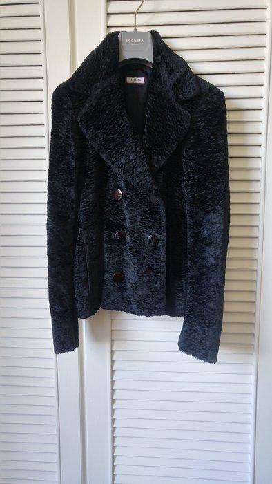Max & co 深黑捲捲毛雙排釦短大衣