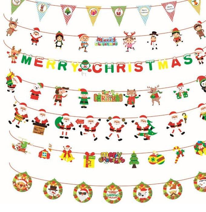 聖誕節佈置用倒三角旗 聖誕 裝飾吊旗  三角旗 聖誕節 居家佈置 氣氛商品 聖誕掛飾 拉旗 耶誕節【HF54】