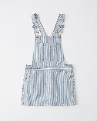 Maple麋鹿小舖 Abercrombie&Fitch * AF 藍色條紋吊帶連身裙 * ( 現貨M號 )