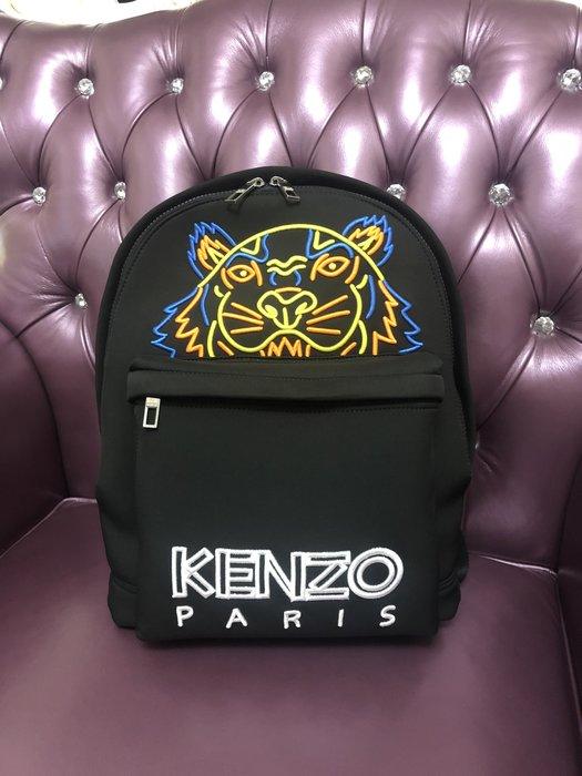 KENZO 男款大尺寸虎頭刺繡後背包  A4書本可放 黑色系 正品保證