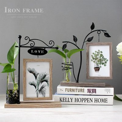 創意相框擺台6寸照片客廳辦公桌面水培裝飾擺件北歐鐵藝雙面相架