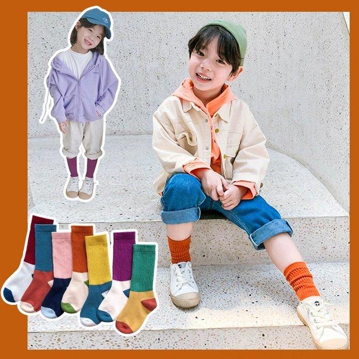 【小阿霏】兒童個性中筒襪潮襪 女童男童拼色直紋精梳棉堆堆襪 秋冬款襪子PA296