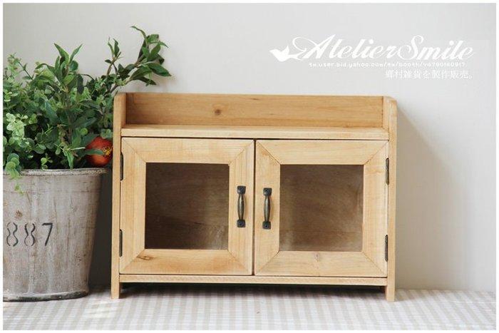[ Atelier Smile ] 鄉村雜貨  復古作舊 實木水洗白 壁掛雙層玻璃收納櫃 展示陳列櫃 (現+預)