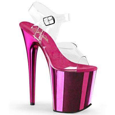Shoes InStyle《八吋》美國品牌 PLEASER 原廠正品透明金屬鍍鉻極端厚底高跟涼鞋 有大尺碼 『紫紅色』