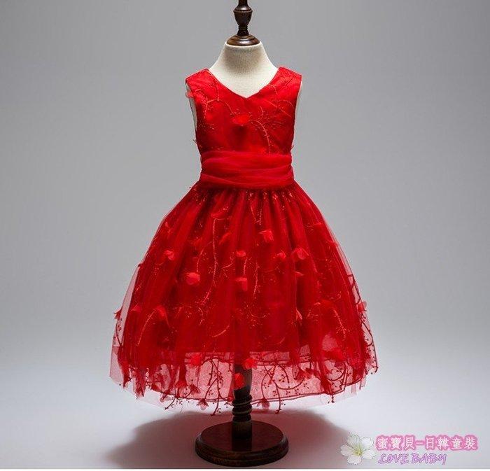 蜜寶貝*全新- -中大女童-紅色拖尾禮服畢業鉤花公主裙前後V領繡禮服 1703尺寸100-160 約4-15歲-P001