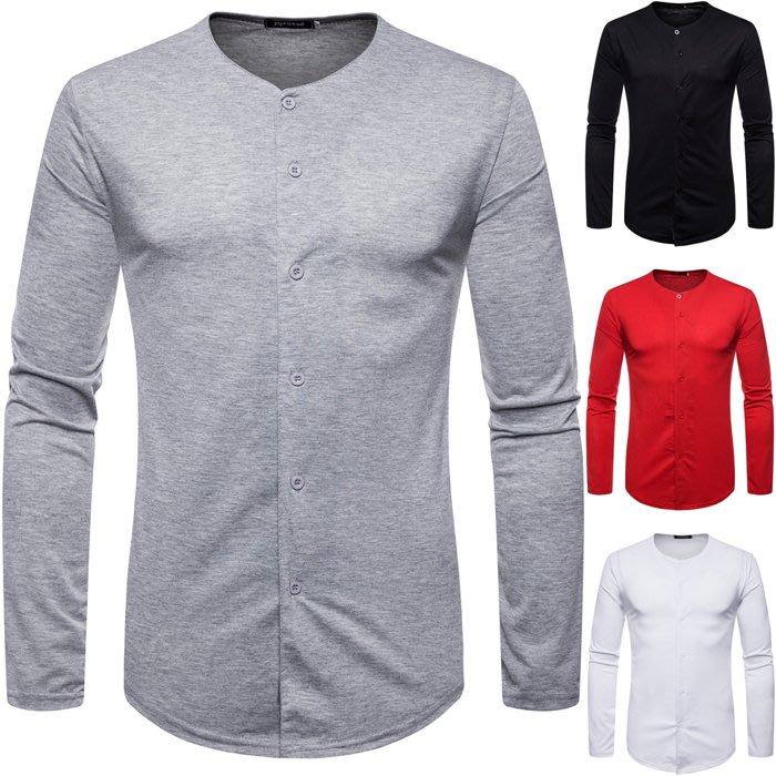 『X-男人館』 WS11 外貿新款男士修身棉質T恤 長袖T恤 純色多紐扣開衫 素面T恤NRG2967