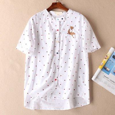 夏季新款 五彩鈕扣 刺繡波點立領短袖棉襯衫女寬鬆直筒襯衣