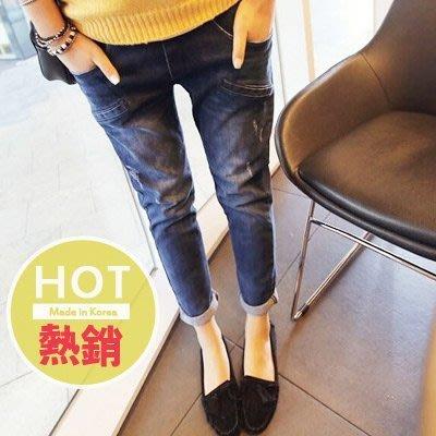 【愛天使孕婦裝】82195別緻口袋 率性版牛仔褲(可調腰圍)top