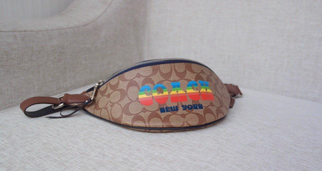 【全球精品代購鋪】COACH 72710 7月新款 女士時尚logo印花腰包 胸包 購美國代購Outlet專場 可團購