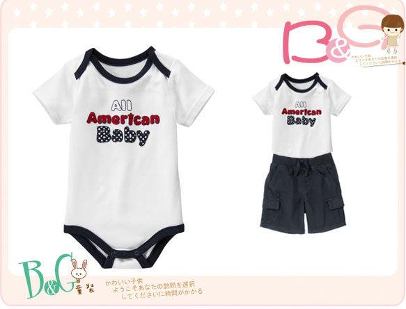 【B& G童裝】正品美國進口GYMBOREE藍邊白色短袖連身衣6-12,18-24mos