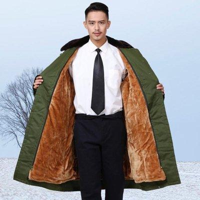 軍大衣男冬季加厚棉大衣防寒加長毛里保安大衣加厚可拆卸軍大衣