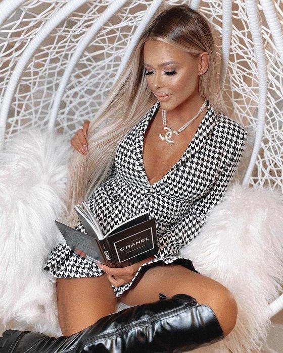 Luxe Boutique 歐美IG同款性感明星超模千鳥格小洋裝 禮服  ootd 孫芸芸 關穎 約會  預購 BH6814
