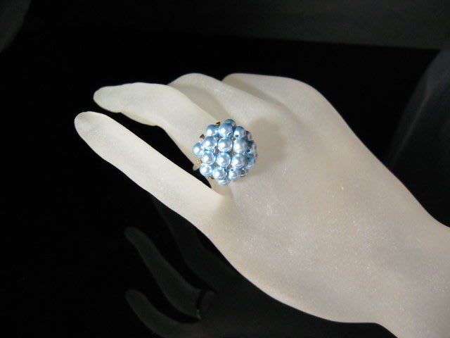※水晶玫瑰※ SWAROVSKI 水晶珍珠戒指~水藍(HAND38)