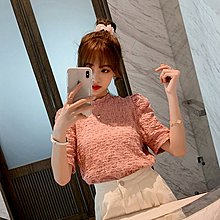 ❤公主的著衣❤春季新款~設計感褶皺泡泡袖圓領T恤