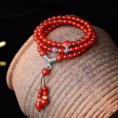 MAMAmi古店 民族風紅瑪瑙手鍊女時尚多圈手串本命年飾品配飾送女友生日禮物