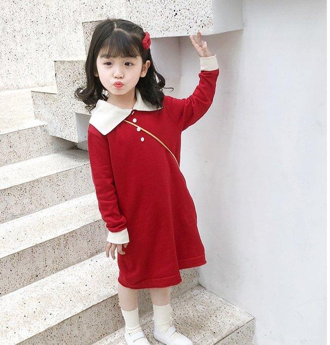 *蜜寶貝*秀氣長款針織裙連衣裙洋裝 新年衣 19秋裝新款85012-尺寸90-130CM-0021