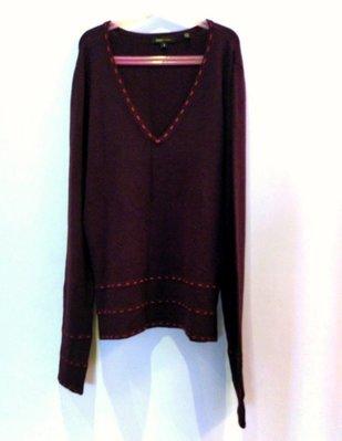 (出清)美國精品 BCBG Maxazria 巧克力色長袖 V領長版針織線衫,尺寸 s,彈性佳。約 9成新