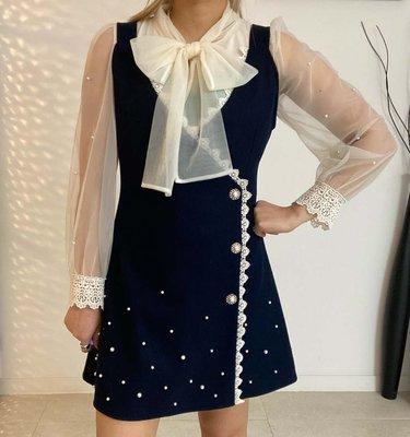 *~fuyumi boutique~*100%正韓 冬裝新款 甜美珍珠背心洋裝 藍/米